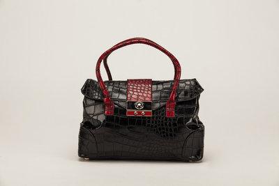 Handtas zwart, rode gesp